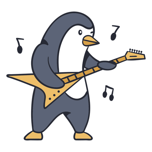 Cute penguin guitar player cartoon color stroke