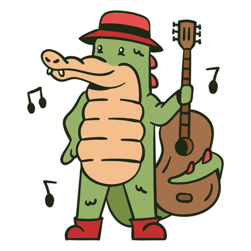 Cute alligator guitar player cartoon color stroke