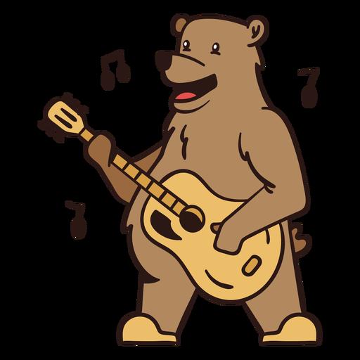 Cute bear guitar player cartoon color stroke