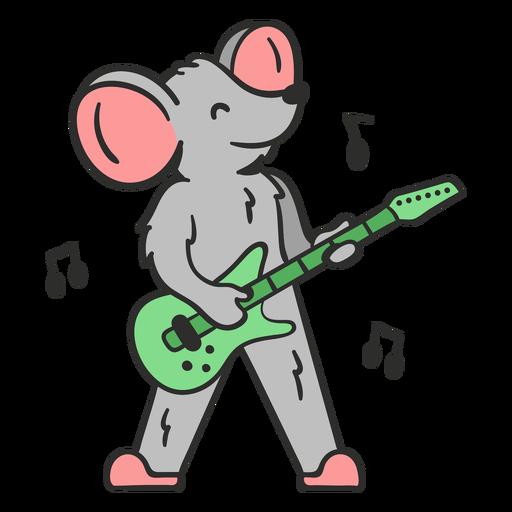Cute mouse guitar player cartoon color stroke