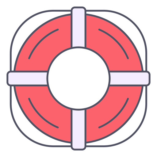 Round lifesaver with rope color stroke