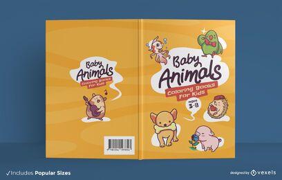 Desenho de capa de livro para colorir de animais bebês