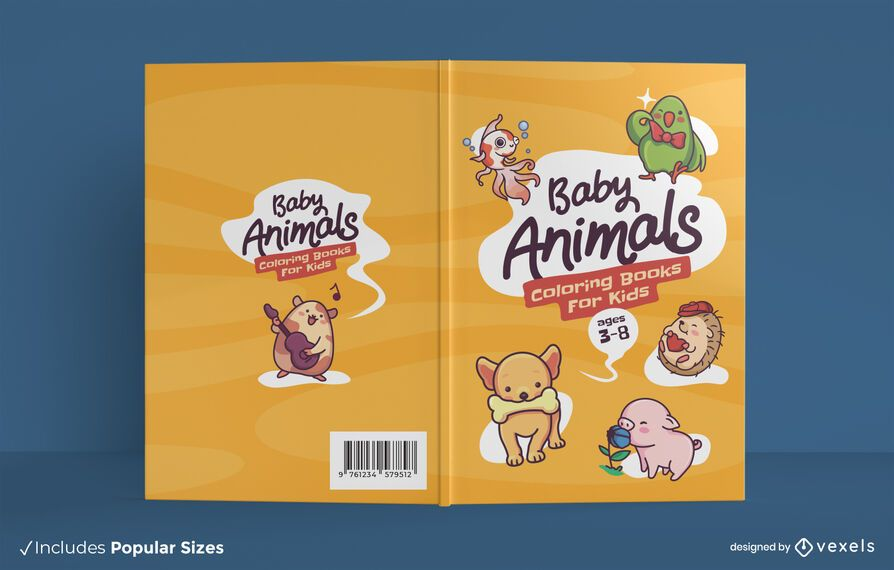 Baby animals coloring book cover design