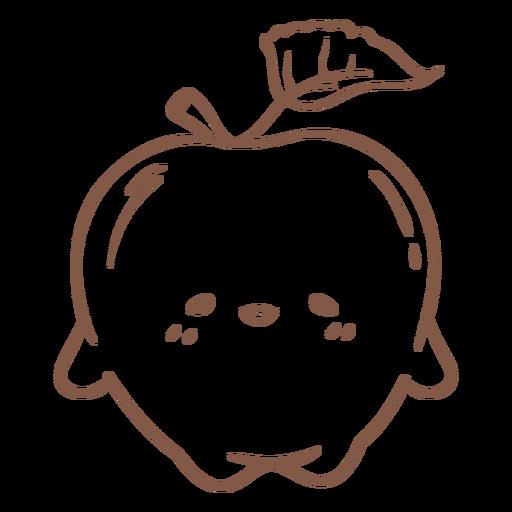 Cute apple character stroke