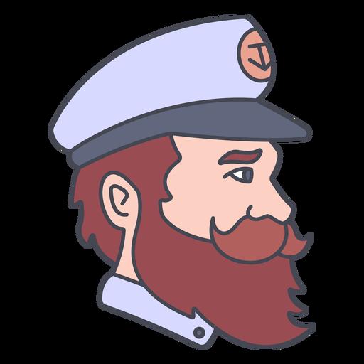 Ship's captain profile color stroke