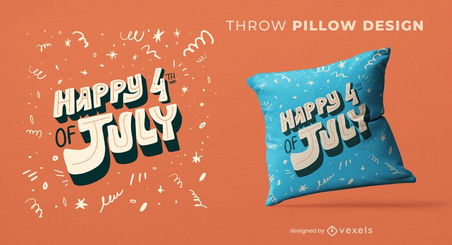 4th of july throw pillow design