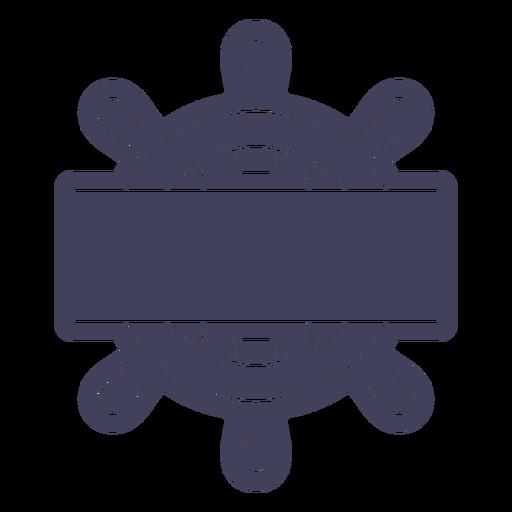 Ship rudder rectangular label cut out