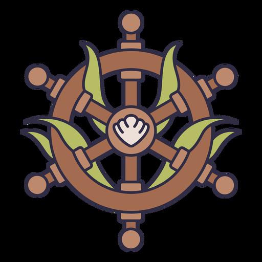 Ship helm sea plants