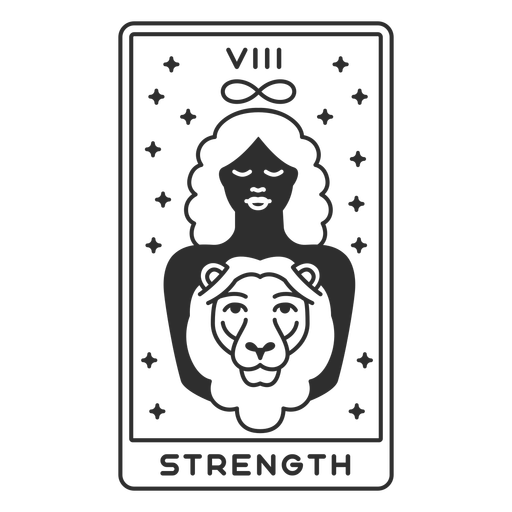 Tarot card strength filled stroke