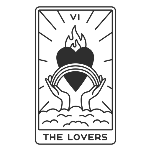 Tarot card the lovers filled stroke