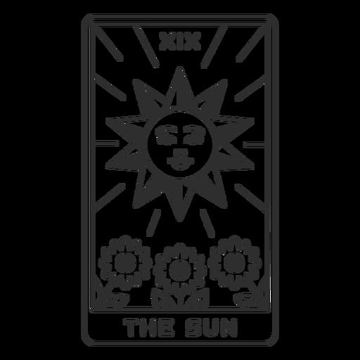 Tarot card the sun filled stroke