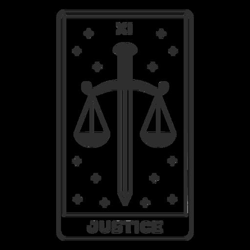 Tarot card justice filled stroke