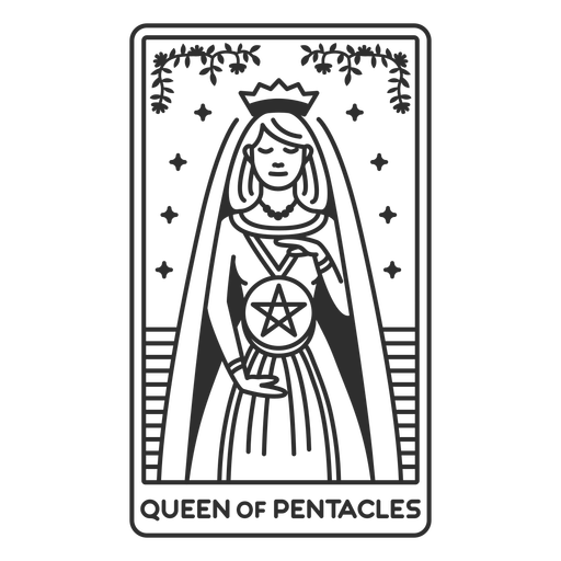 Tarot card queen of pentacles filled stroke
