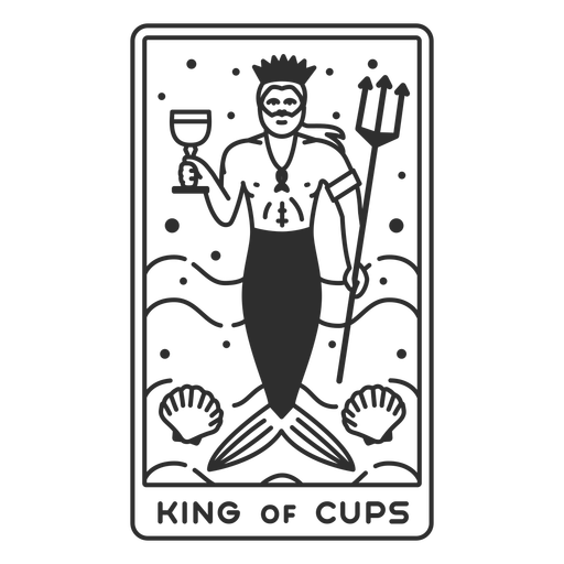 Tarot card king of cups filled stroke