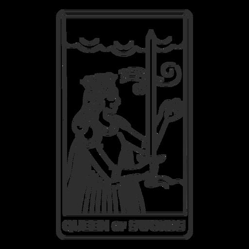 Tarot card queen of swords filled stroke
