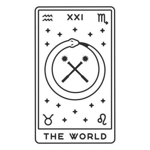 Tarot card the world filled stroke
