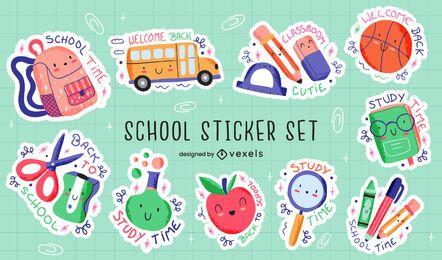 Conjunto de adesivos educacionais fofos de material escolar