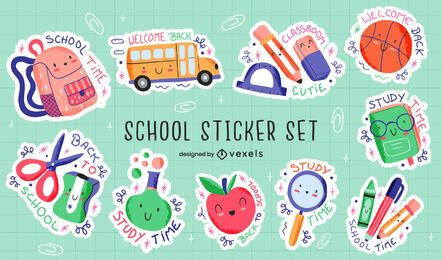 School supplies cute education sticker set