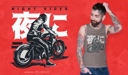 Diseño de camiseta japonesa motociclista.