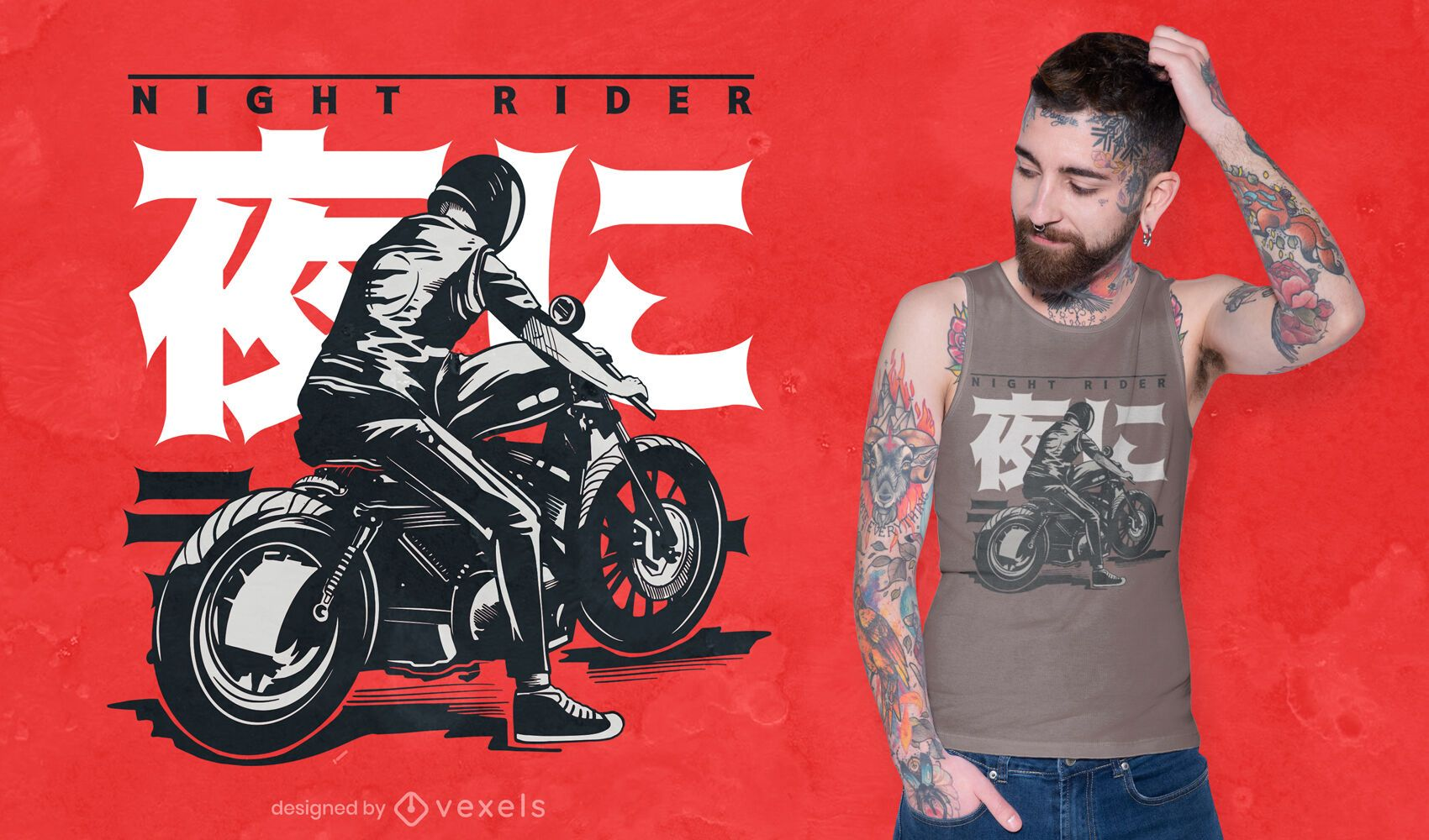 Motorcyclist japanese t-shirt design