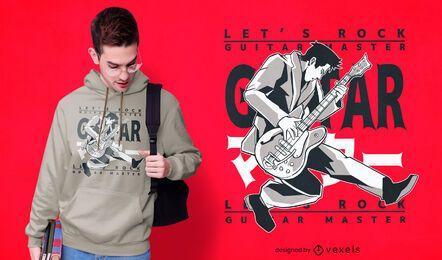 Diseño de camiseta japonesa de maestro de guitarra.