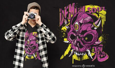 Diseño de camiseta espeluznante de calavera demoníaca