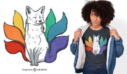 Diseño de camiseta de zorro japonés kitsune LGBT