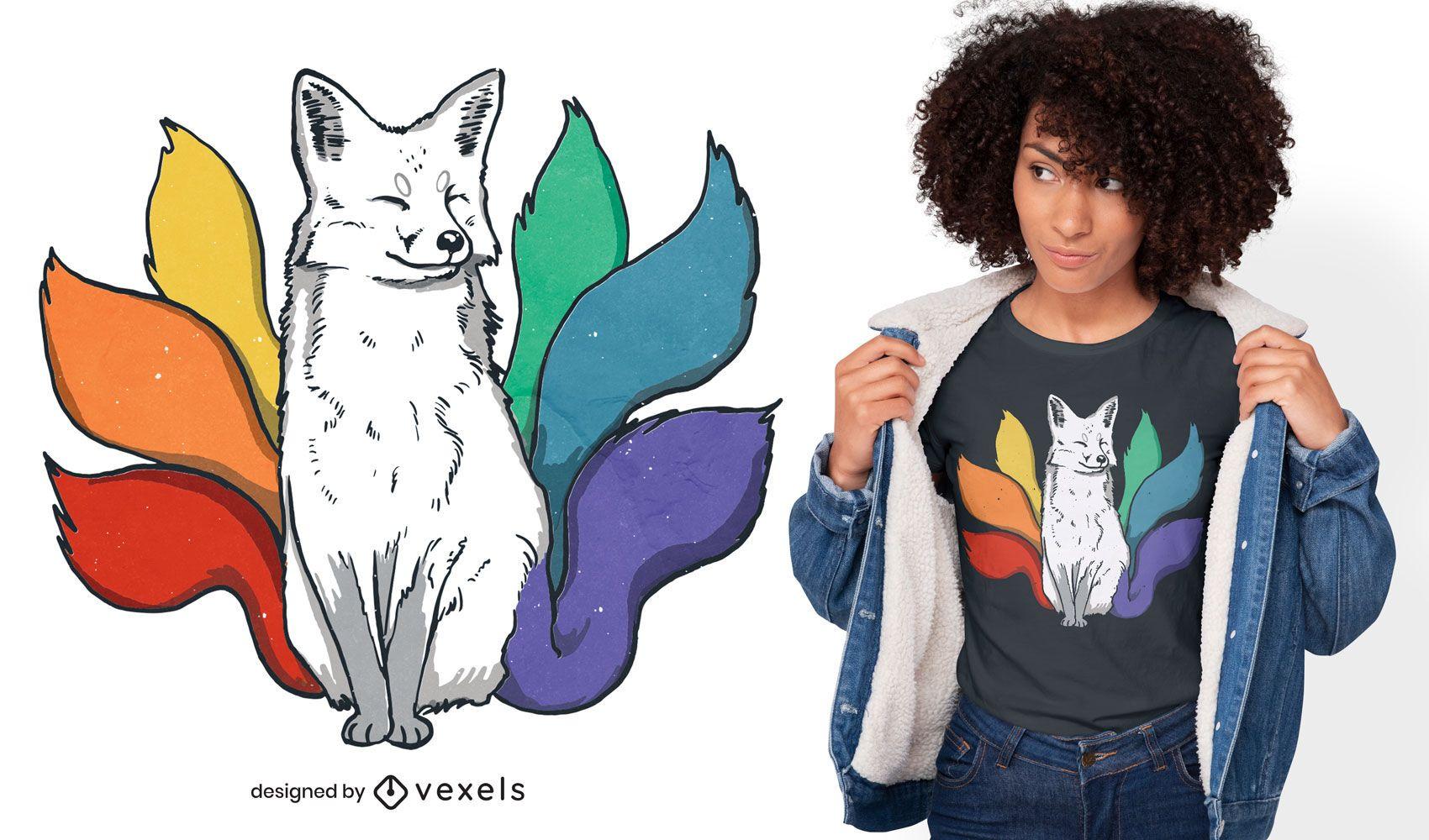 LGBT Kitsune Japanischer Fuchs T-Shirt Design