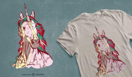 Design realista de t-shirt de unicórnio desenhado à mão