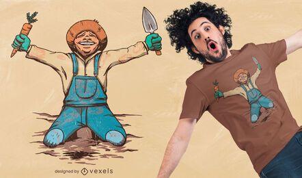 Jardineiro feliz com design de camiseta de cenoura