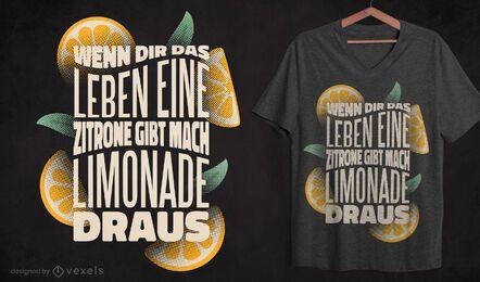 Diseño de camiseta de cita alemana de limonada.