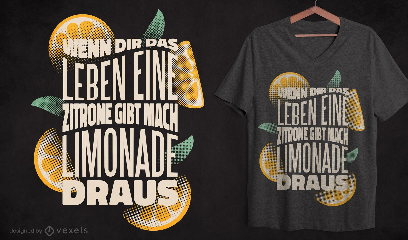 Design de camiseta com citações alemãs de limonada