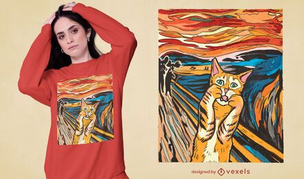The Scream parody cat t-shirt design