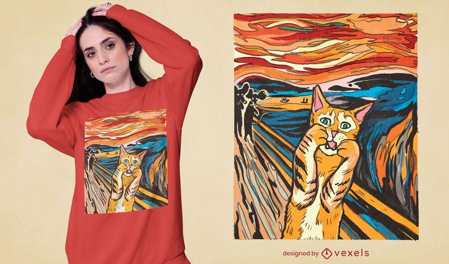 O design da t-shirt do gato com paródia do Scream