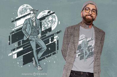 Diseño de camiseta de hombre elegante luna
