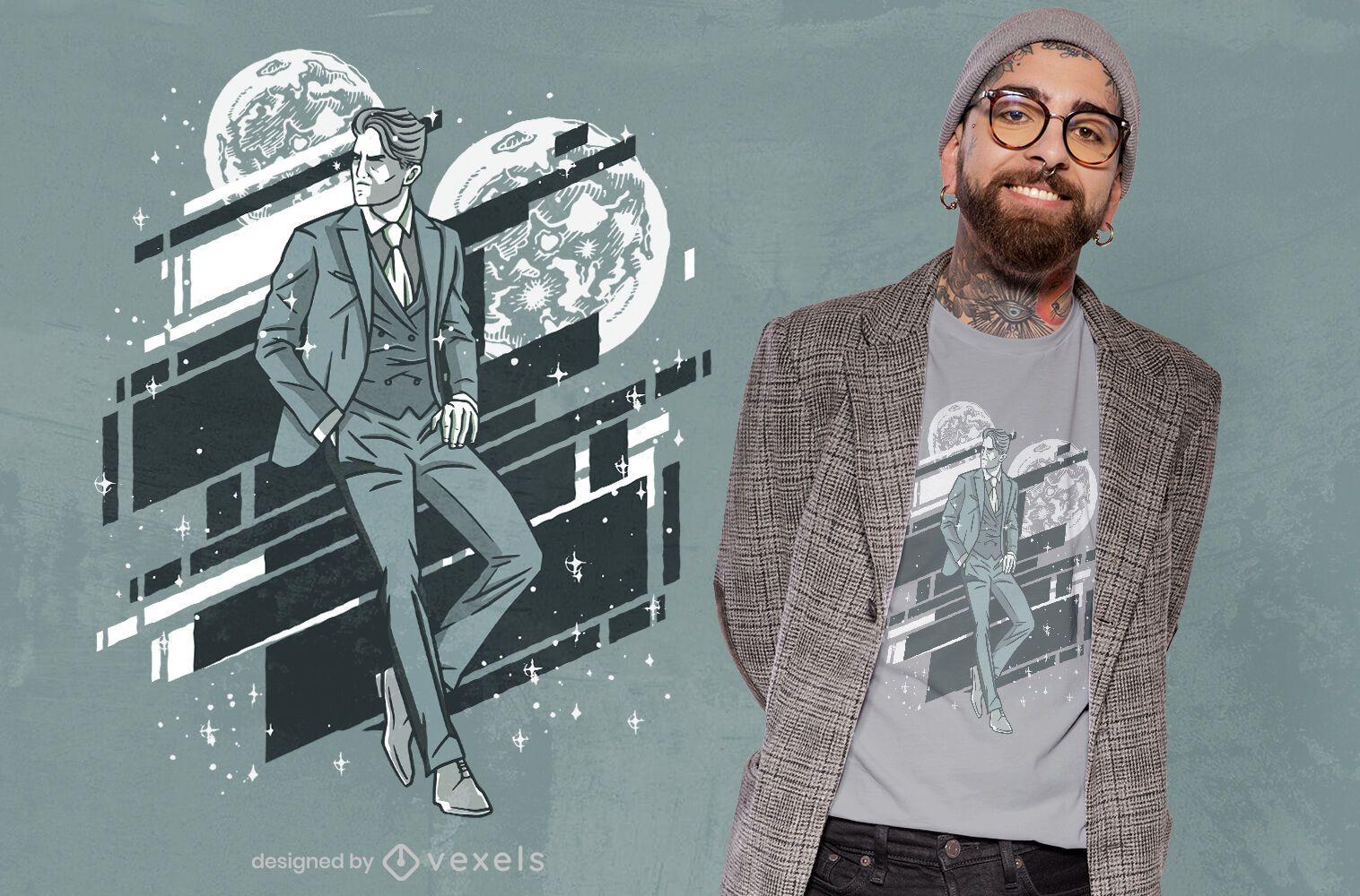 Elegant man moon t-shirt design