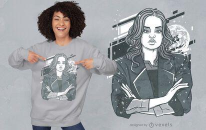 Diseño de camiseta mujer seria luna