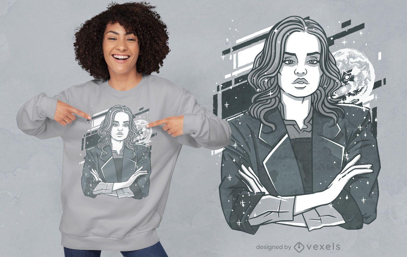 Serious woman moon t-shirt design
