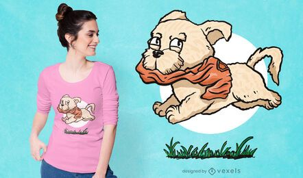 Dog running with shirt t-shirt design