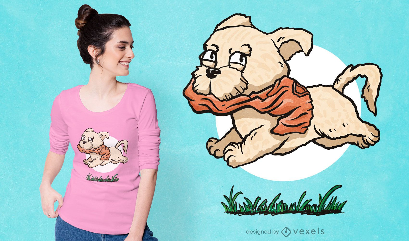 Hund läuft mit Hemd T-Shirt Design