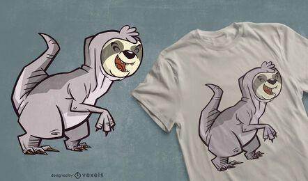 Diseño de camiseta híbrida Sloth t-rex