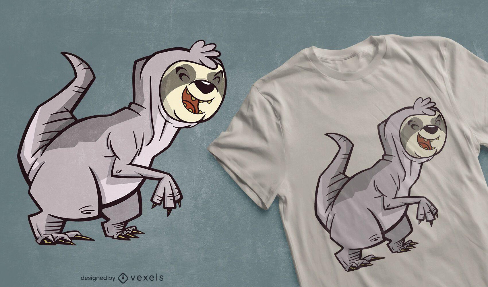 Design de camiseta híbrida t-rex da preguiça