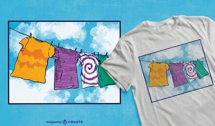 Clothes line t-shirt design