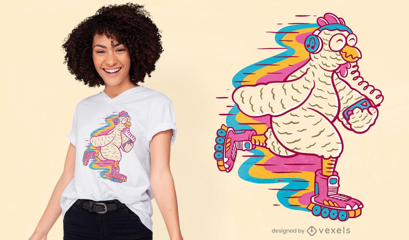 Diseño de camiseta de patinaje sobre ruedas de pollo.