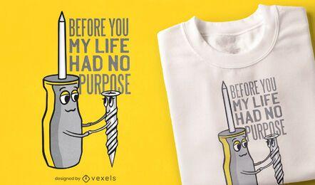 Diseño de camiseta de cita de amor de herramientas de trabajo