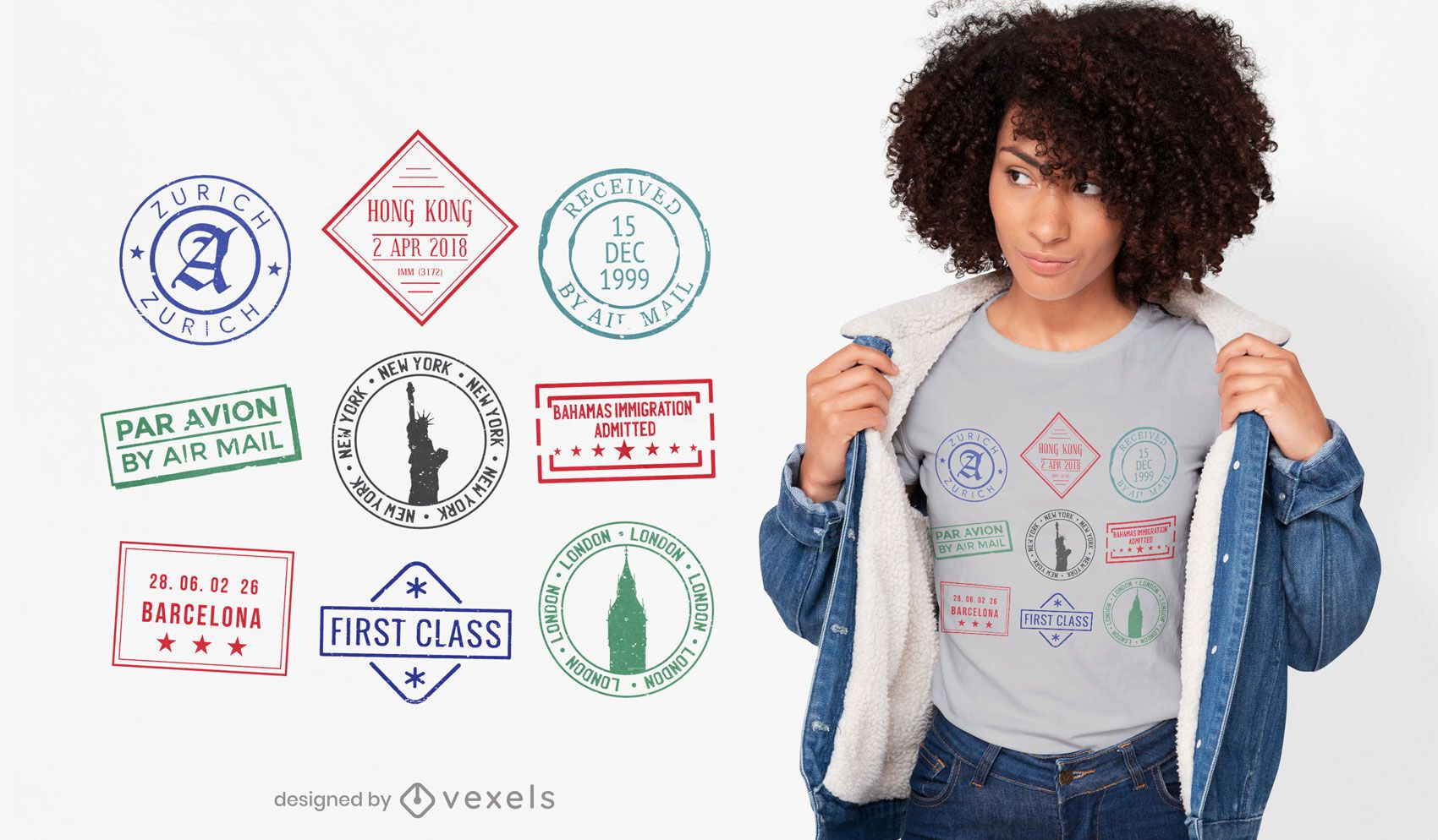 Diseño de camiseta de viaje de sellos de pasaporte.
