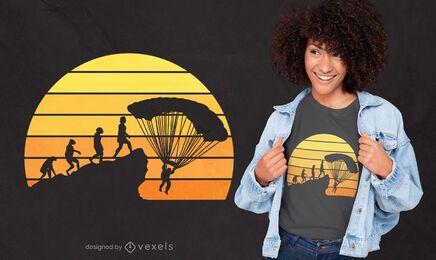 Diseño de camiseta de evolución de paracaidismo.