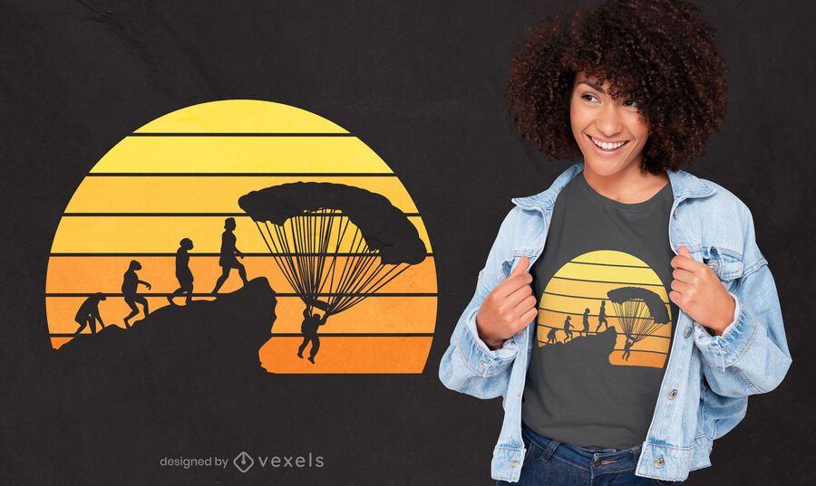 Design de t-shirt da evolução de pára-quedismo