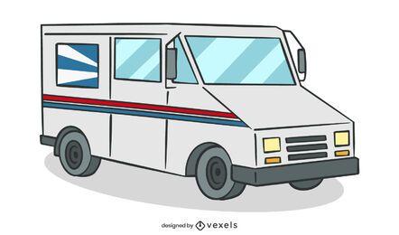 Ilustración de camión de reparto de la oficina de correos