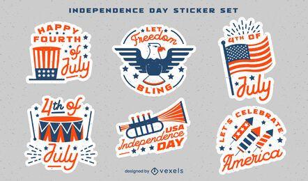 Conjunto de adesivos de celebração do Dia da Independência